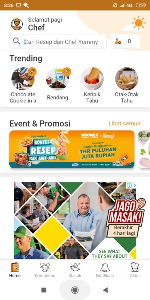 tampilan aplikasi resep masakan dari yummy app